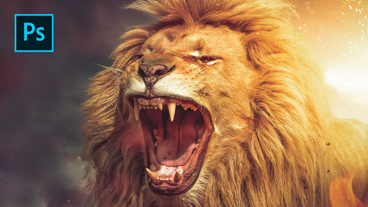 Epic Angry Lion Scene – Photoshop Tutorial