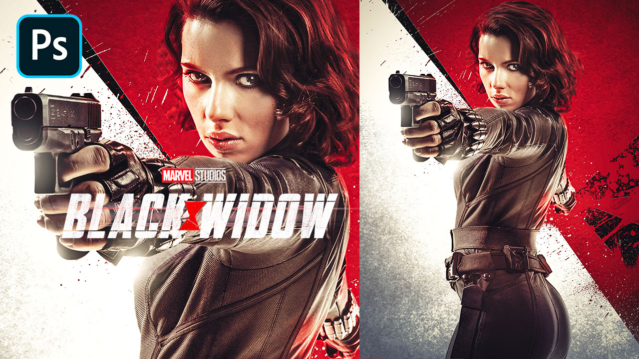 Black Widow (2020) Movie Poster – Photoshop Tutorial