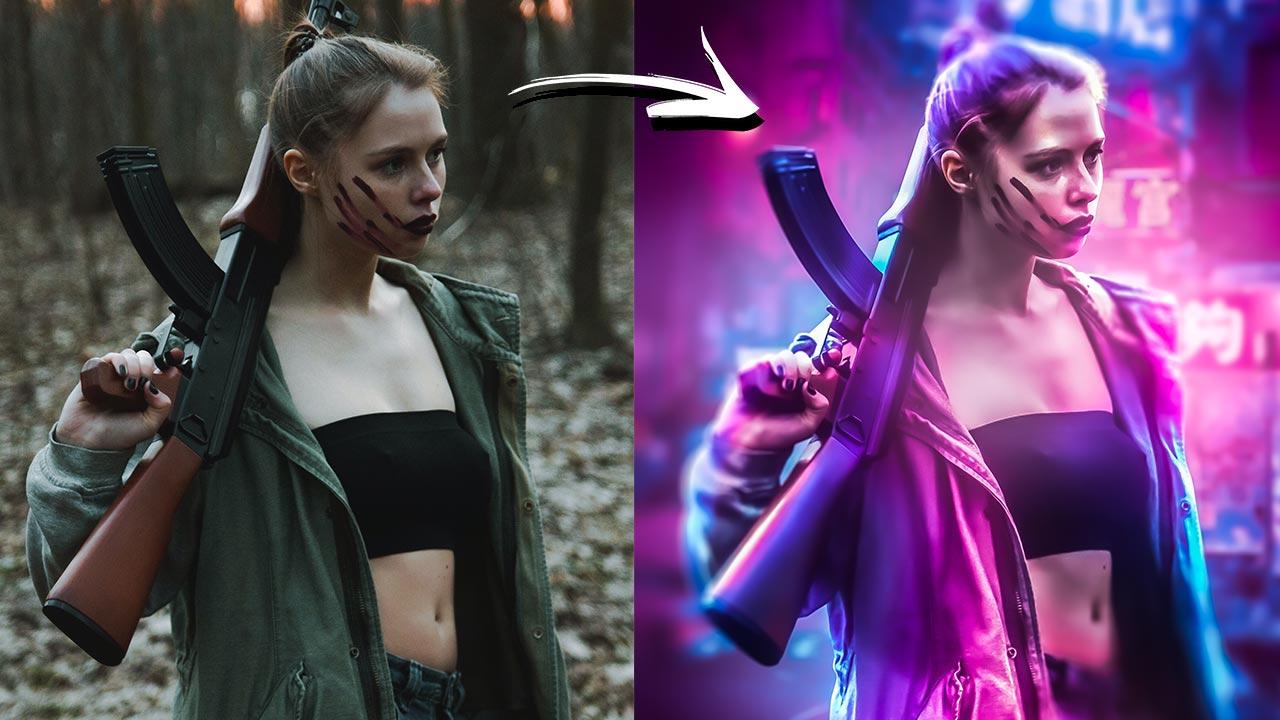 Cyberpunk Photo Effect in Photoshop Tutorial
